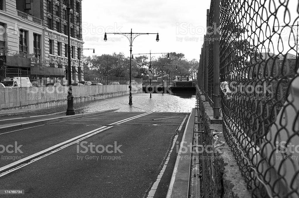 Hurricane Sandy aftermath, Flooded Tunnel, West Street,Lower Manhattan, NYC stock photo
