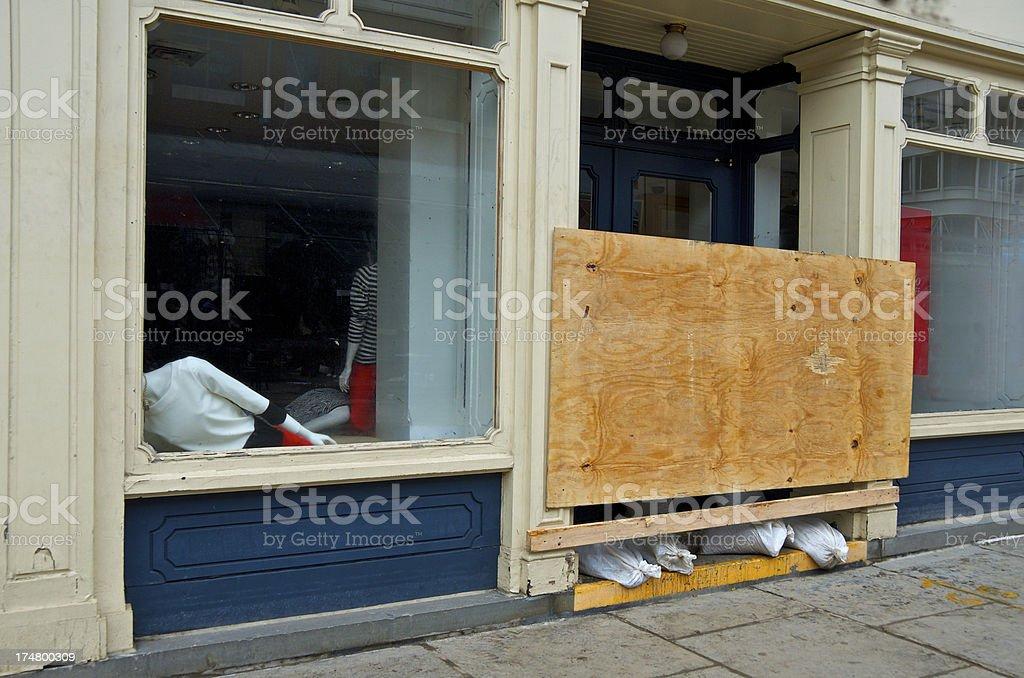 Hurricane Sandy aftermath, Storefront Dummies Fallen, Lower Manhattan, NYC stock photo