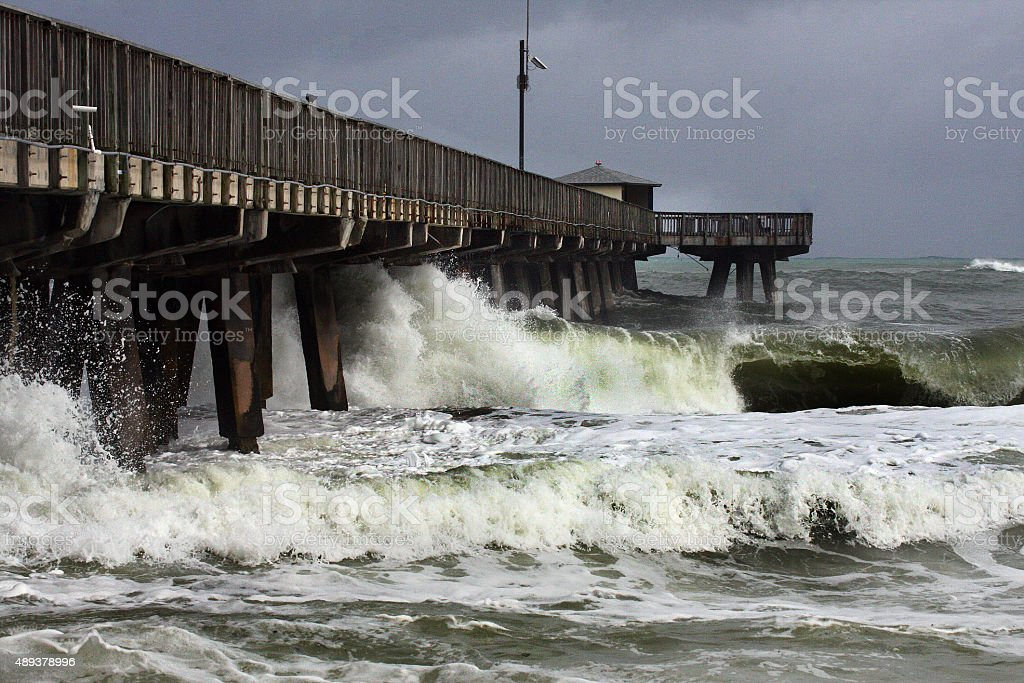 Hurricane Sandy Batters Florida Pier stock photo