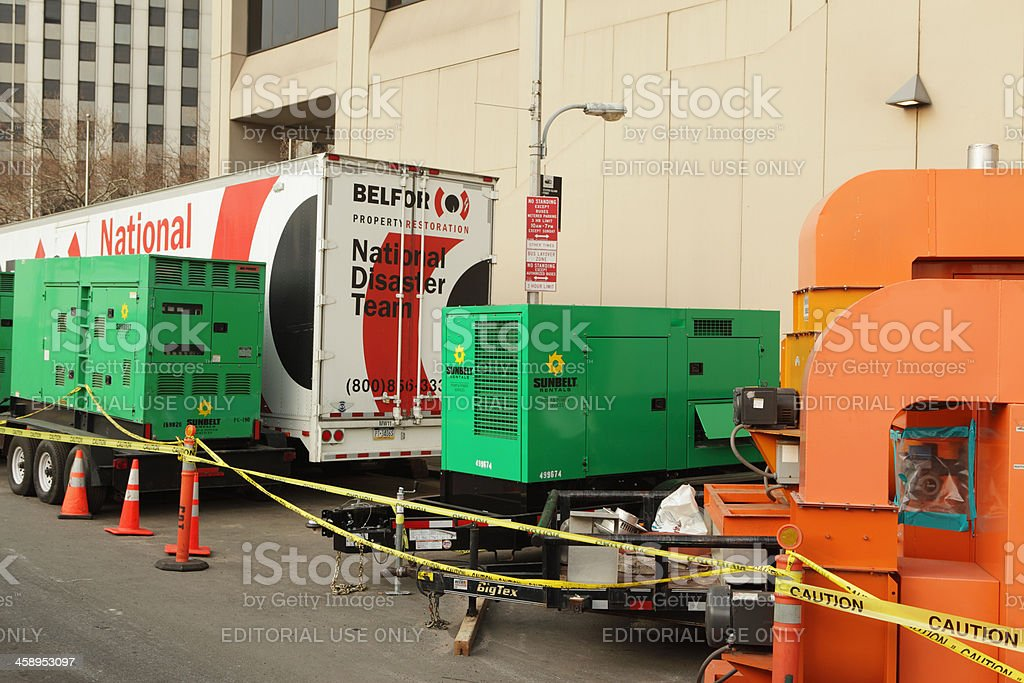 Hurricane Sandy damage NYC emergency generators and pumps stock photo