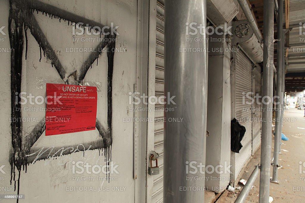 Hurricane Sandy damage NYC Unsafe use notice DOB royalty-free stock photo