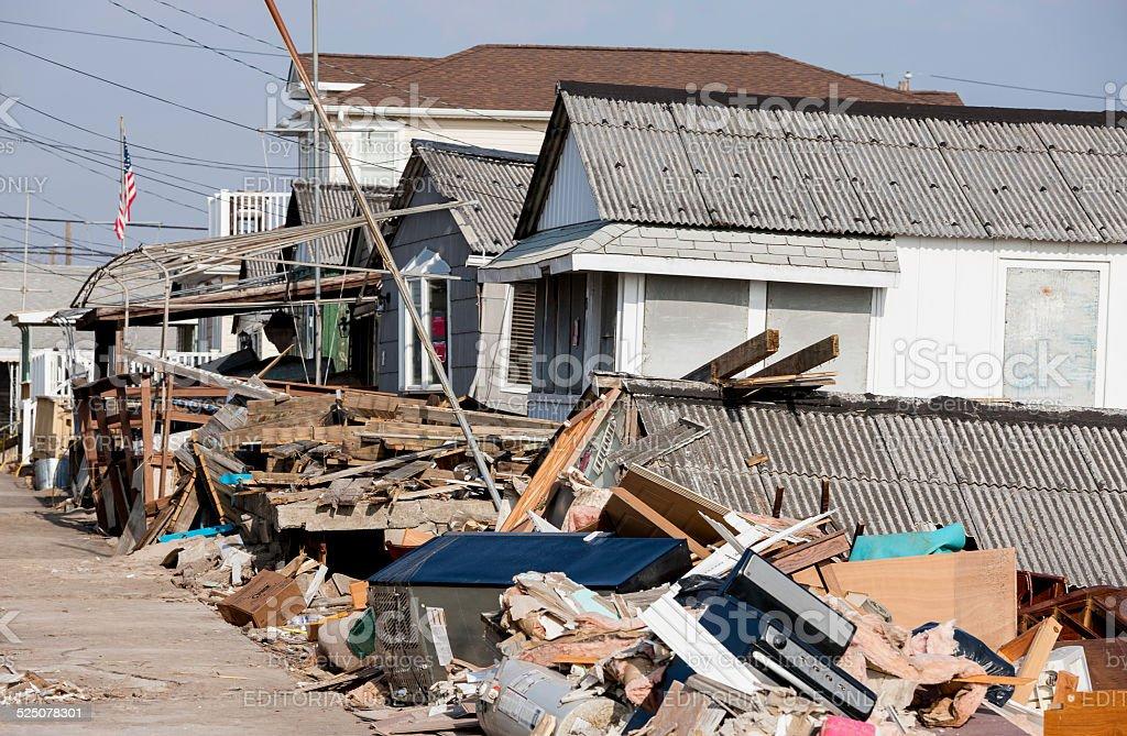 Hurricane Sandy Destruction at Breezy Point stock photo