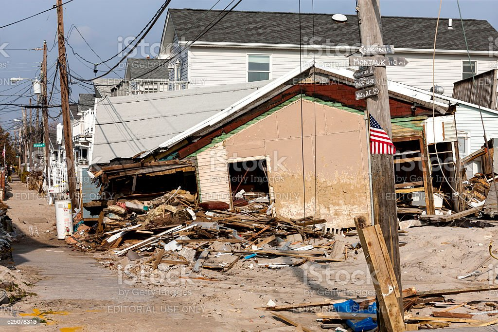 Hurricane Sandy Destruction at Breezy Point stock photo