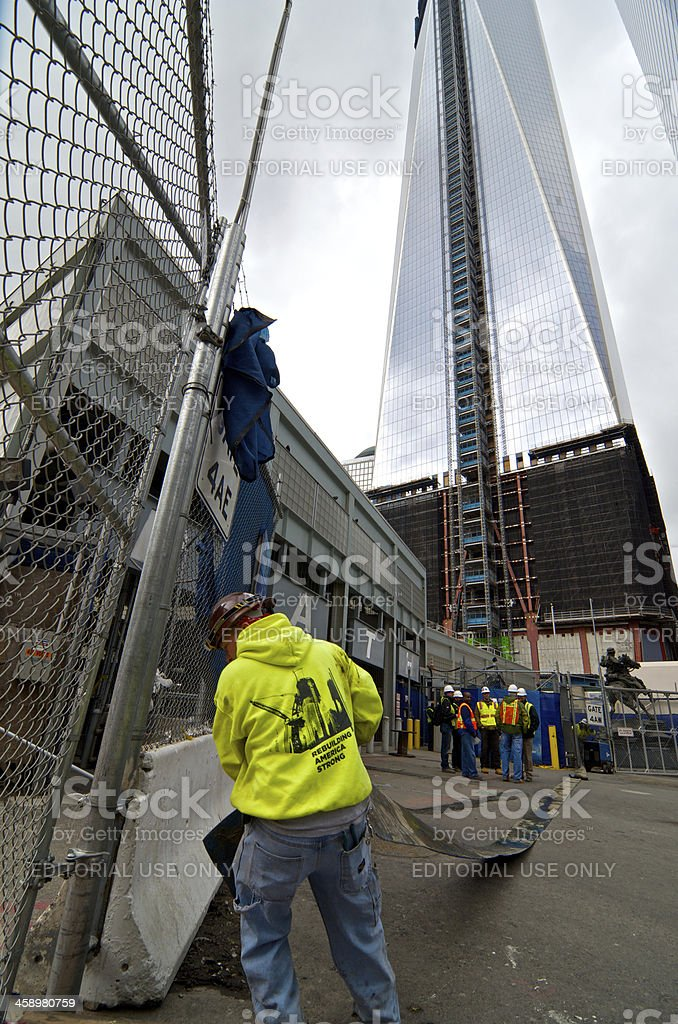 Hurricane Sandy flood water removal, World Trade Center, NYC stock photo