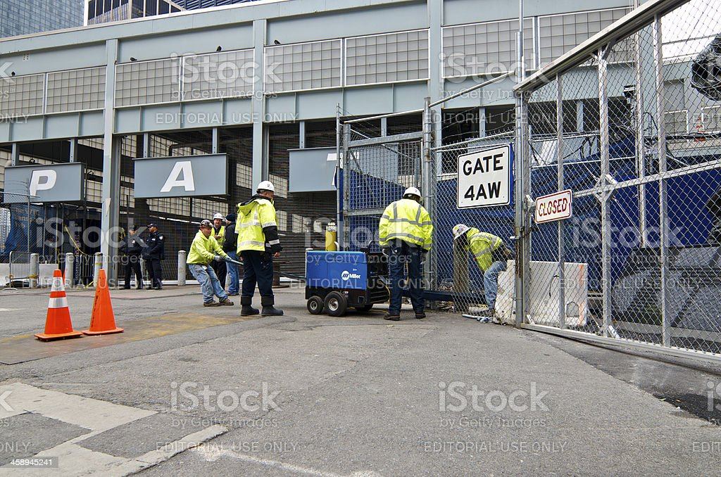 Hurricane Sandy flood water removal, World Trade Center PATH, NYC stock photo