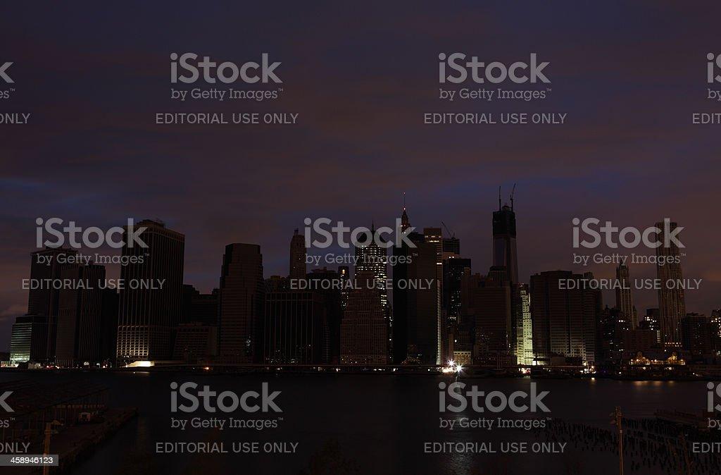 Hurricane Sandy Manhattan blackout second night stock photo