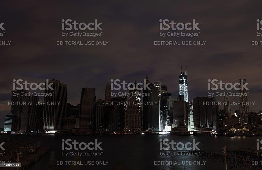 Hurricane Sandy Manhattan blackout second night WTC lit up stock photo