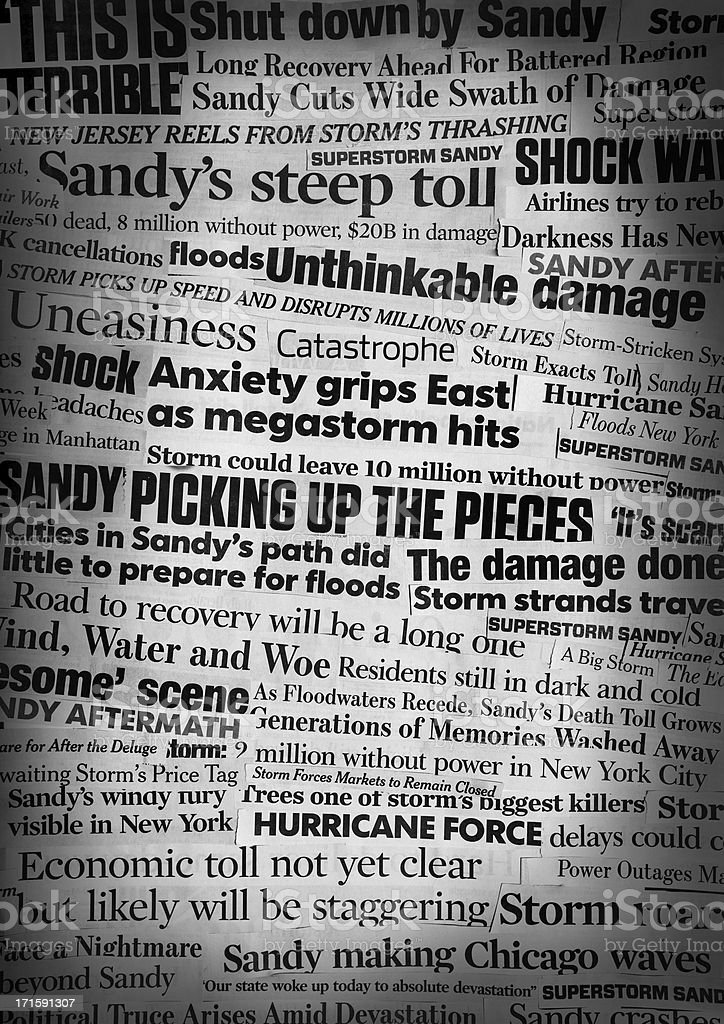 Hurricane Sandy Newspaper Headline Collage stock photo