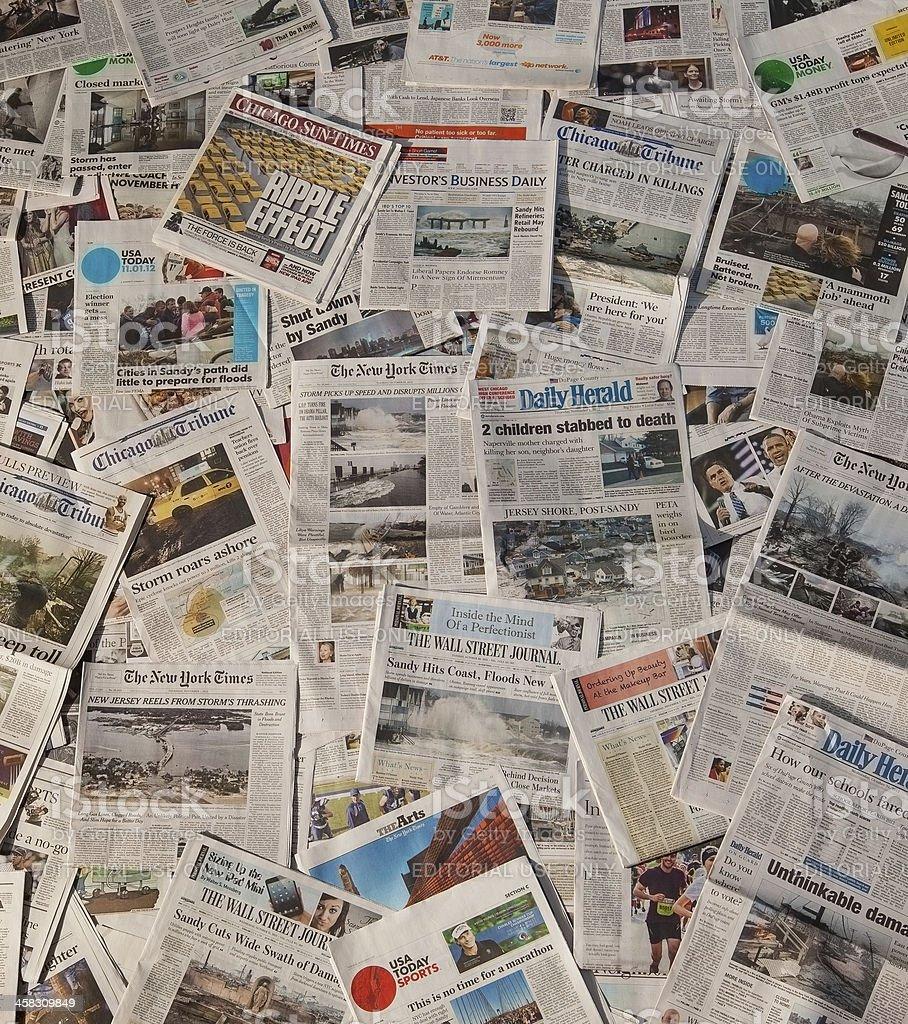 Hurricane Sandy newspaper headlines stock photo