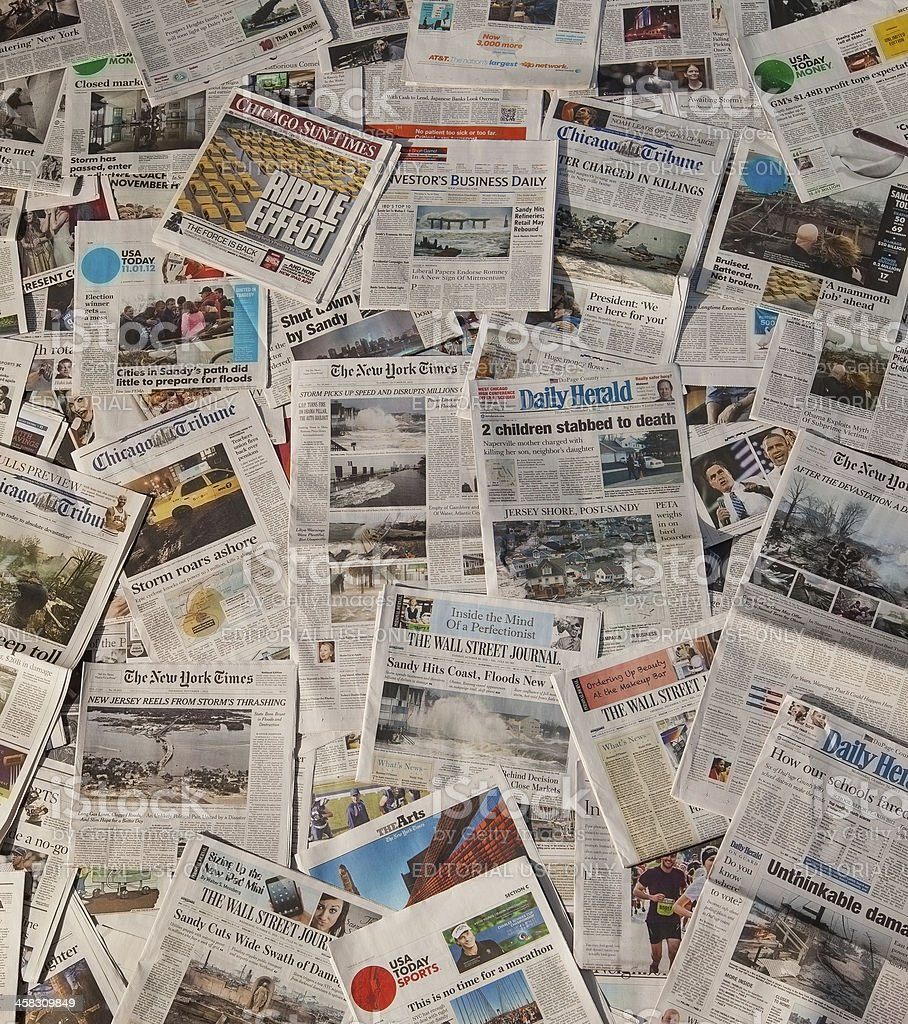 Hurricane Sandy newspaper headlines stock photo