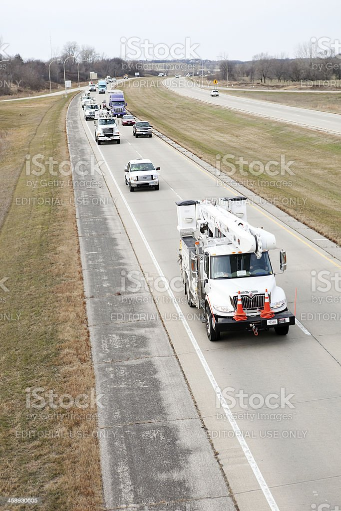 Hurricane Sandy Utility Truck Relief Convoy stock photo