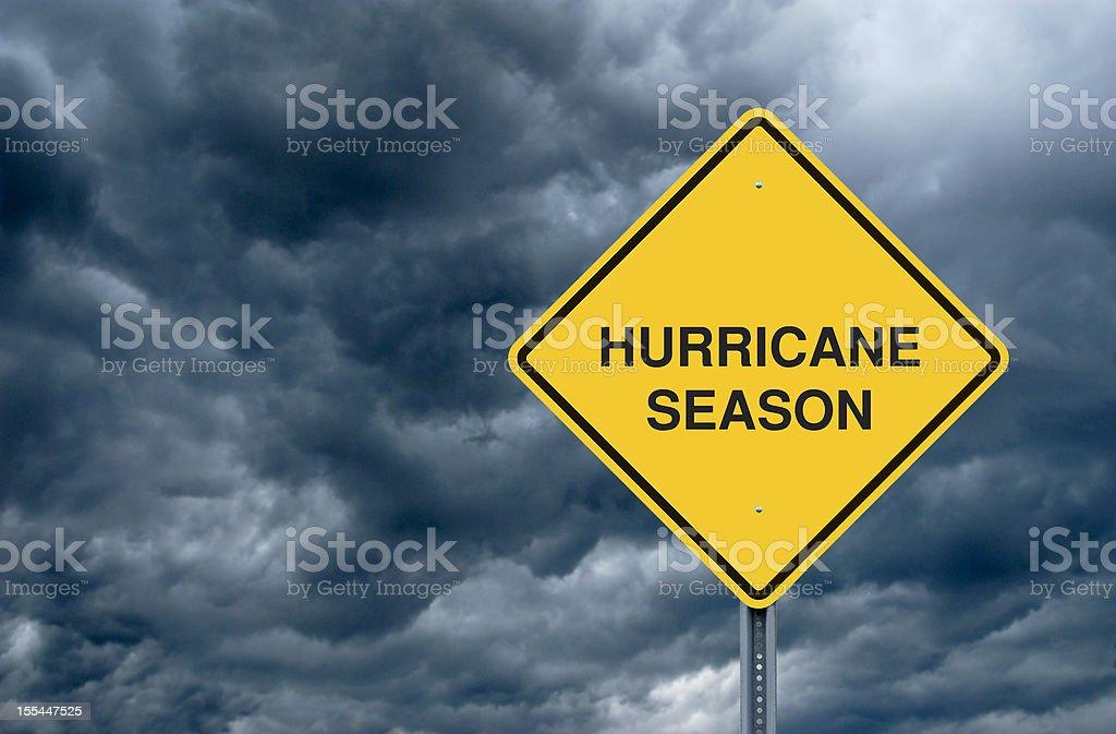 Hurricane Season Road Sign stock photo
