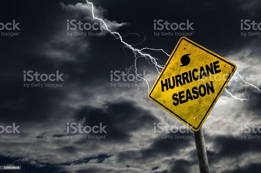 Hurricane Season Sign With Stormy Background stock photo
