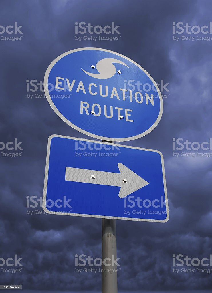 Hurricane Storm Evacuation Route Sign royalty-free stock photo