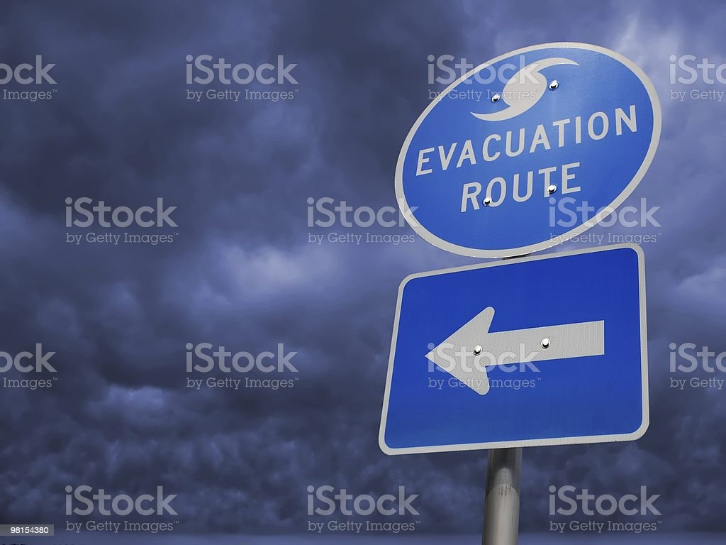 Hurricane Storm Evacuation Route Sign stock photo