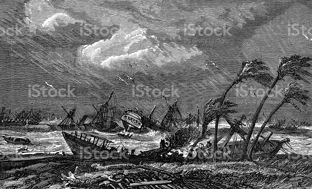 Hurricane Storm With Old Ships Adrift. stock photo