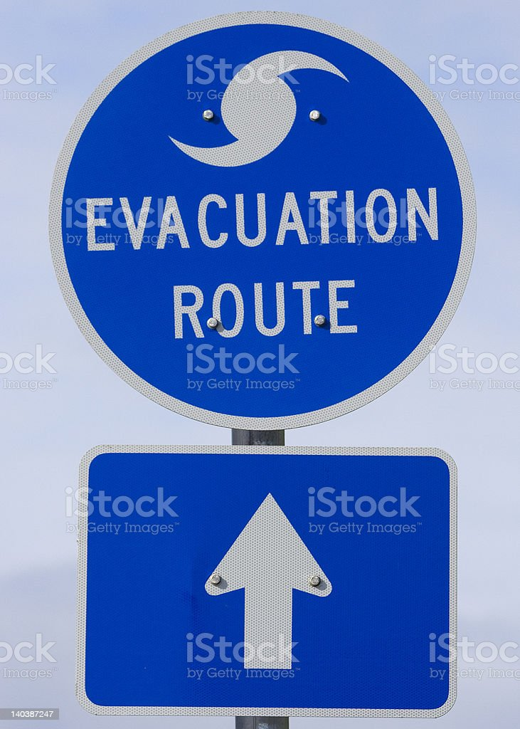 Hurricane Strom Evacuation Route Sign stock photo