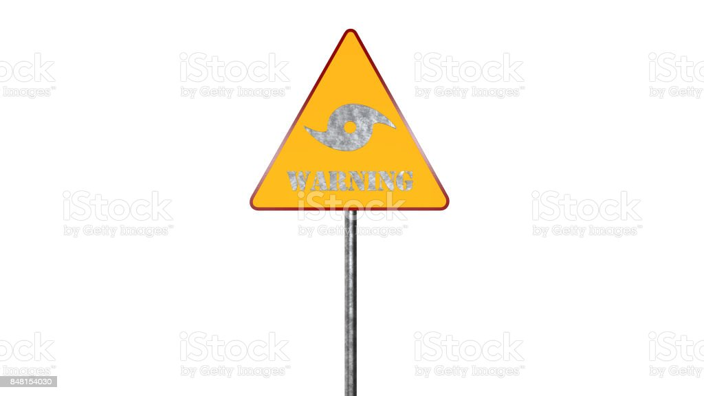 Hurricane Warning Road Sign Isolated On White Background 3D Rendering stock photo
