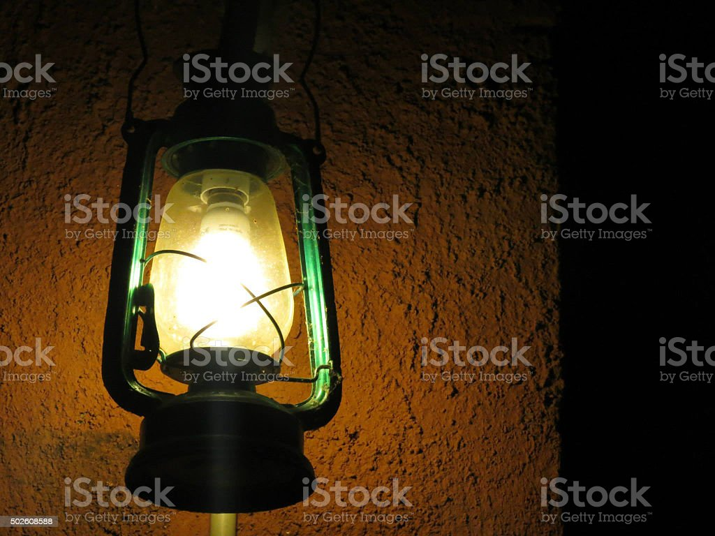 Hurricane-lamp in cottage stock photo