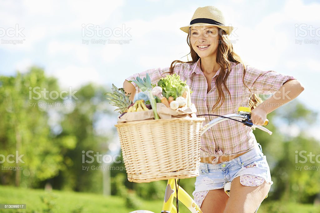 Hurrying home for a healthy lunch stock photo