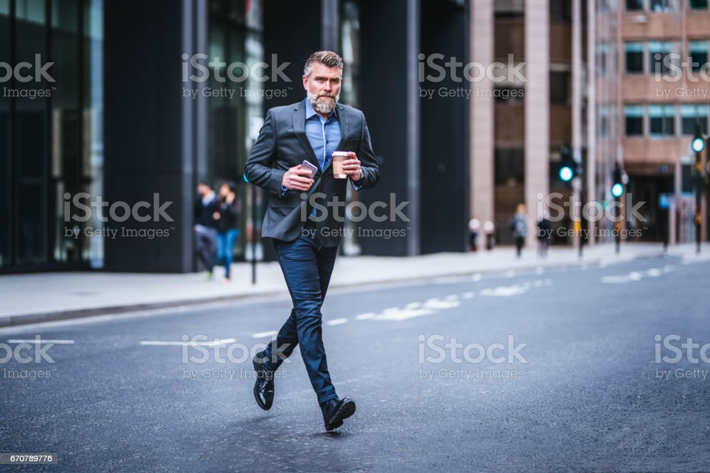 Hurrying to meeting stock photo