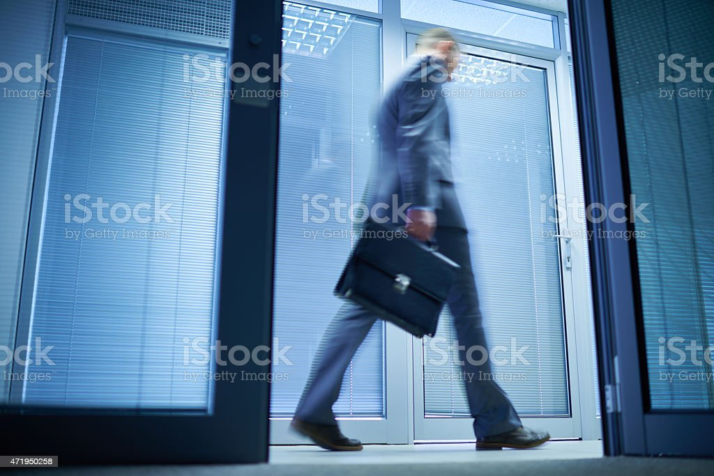 Hurrying to office stock photo