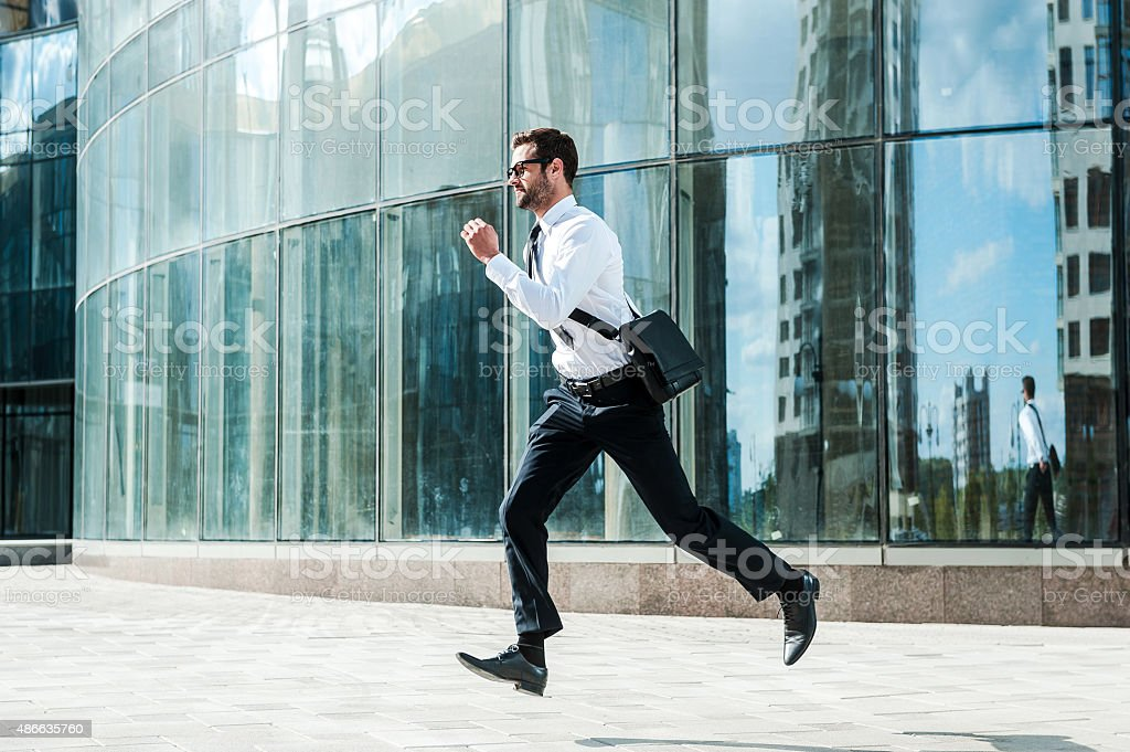 Hurrying to work. stock photo