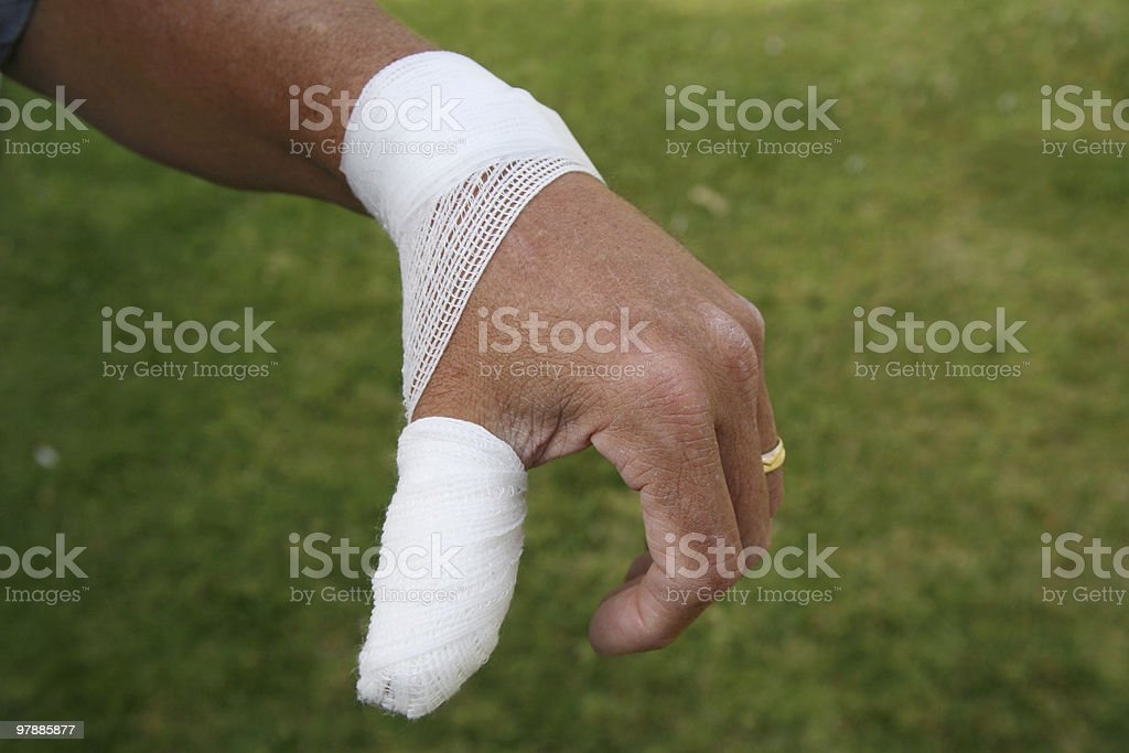Hurt thumb royalty-free stock photo