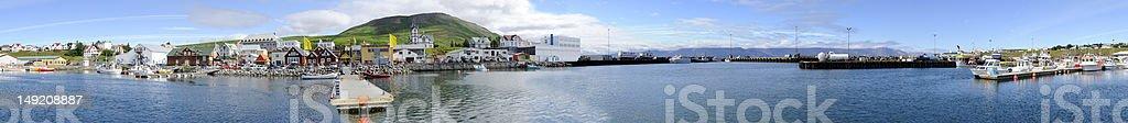 Husavik Harbor Panorama royalty-free stock photo