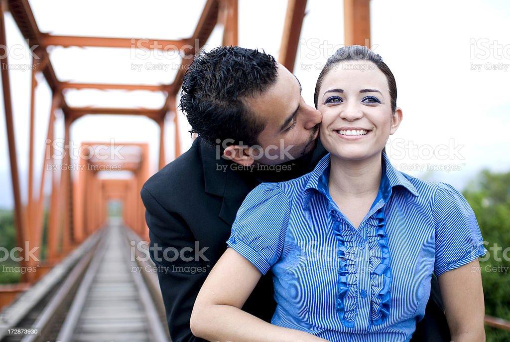 Husban kissing wife royalty-free stock photo