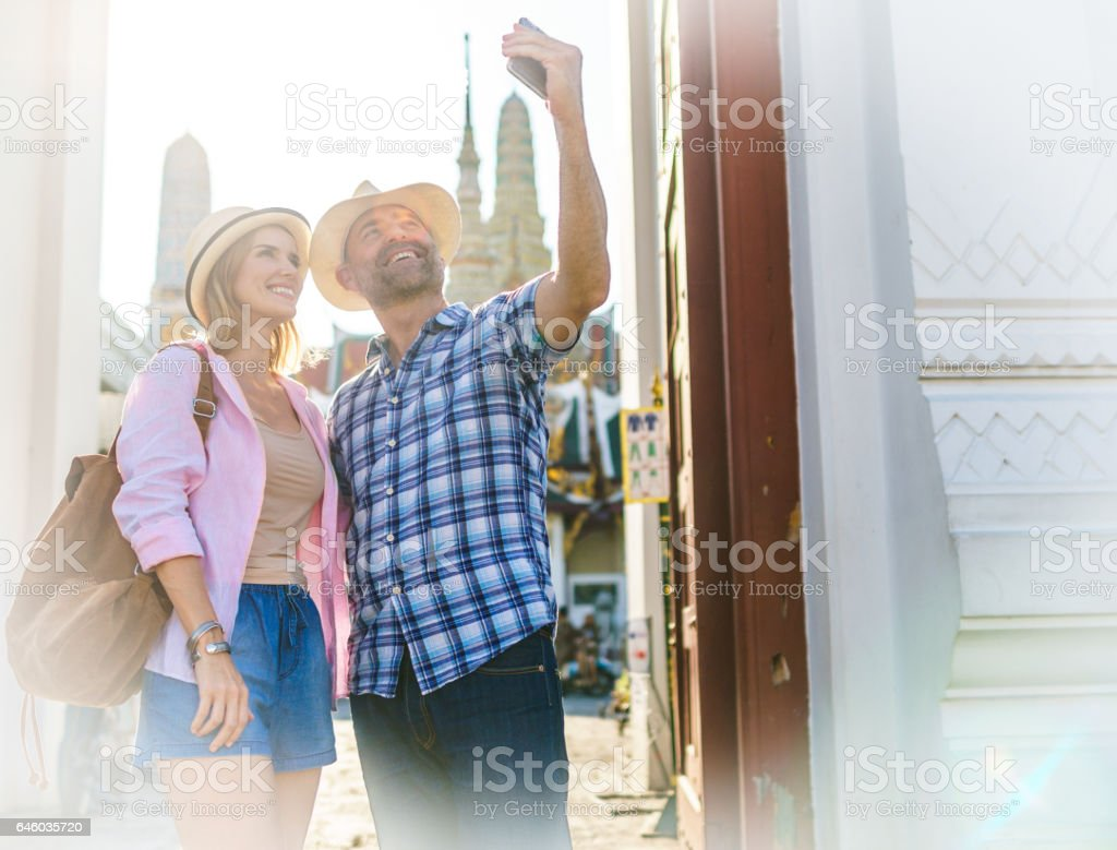 Husband and his wife in Bangkok stock photo