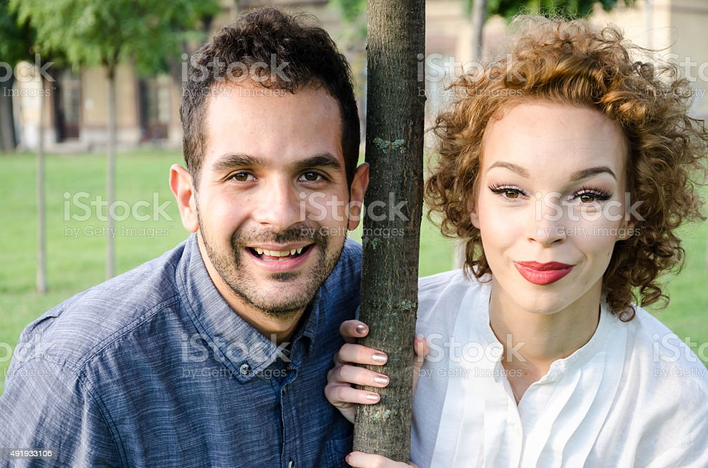 husband and wife are watching stock photo