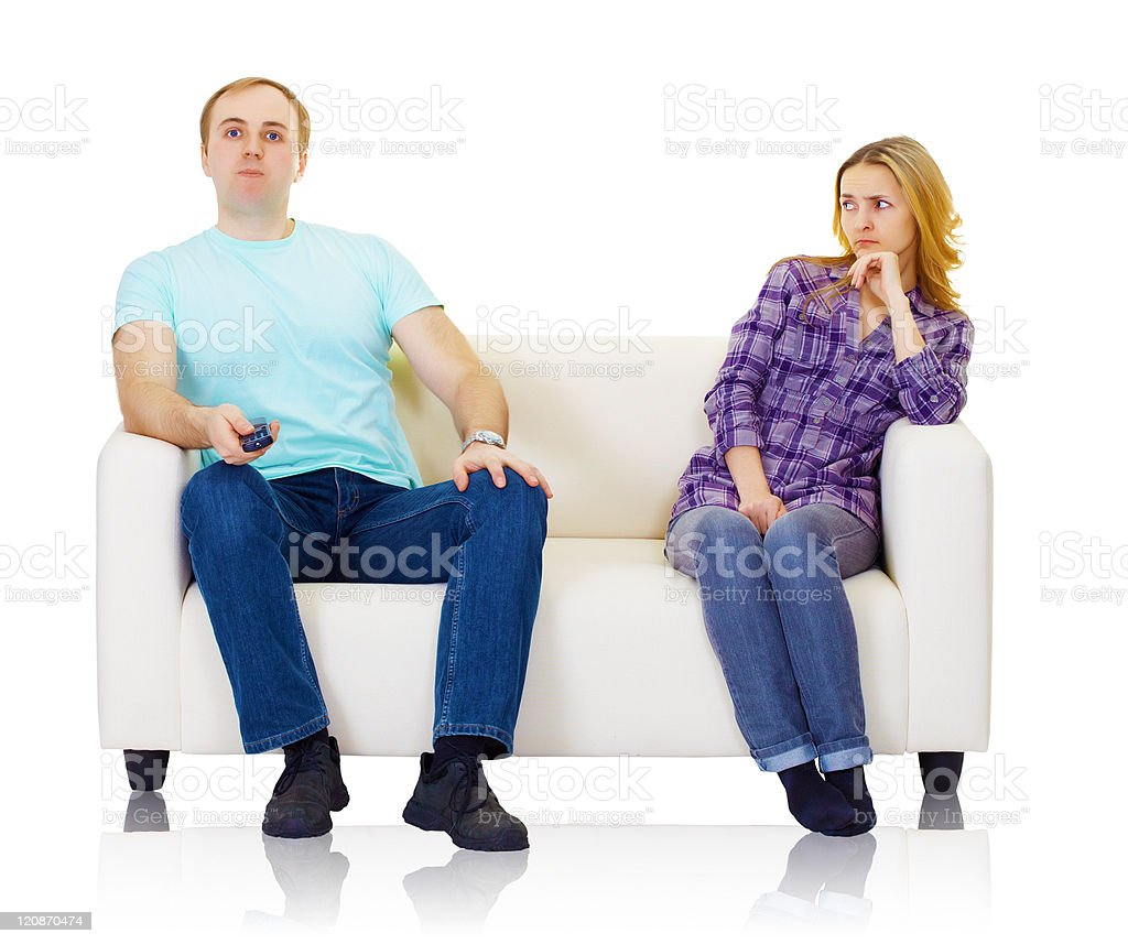 Husband and wife do not find mutual understanding royalty-free stock photo