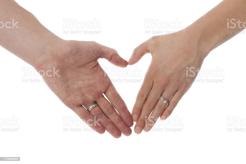 Husband and Wife Hands in Heart Shape Isolated on White stock photo