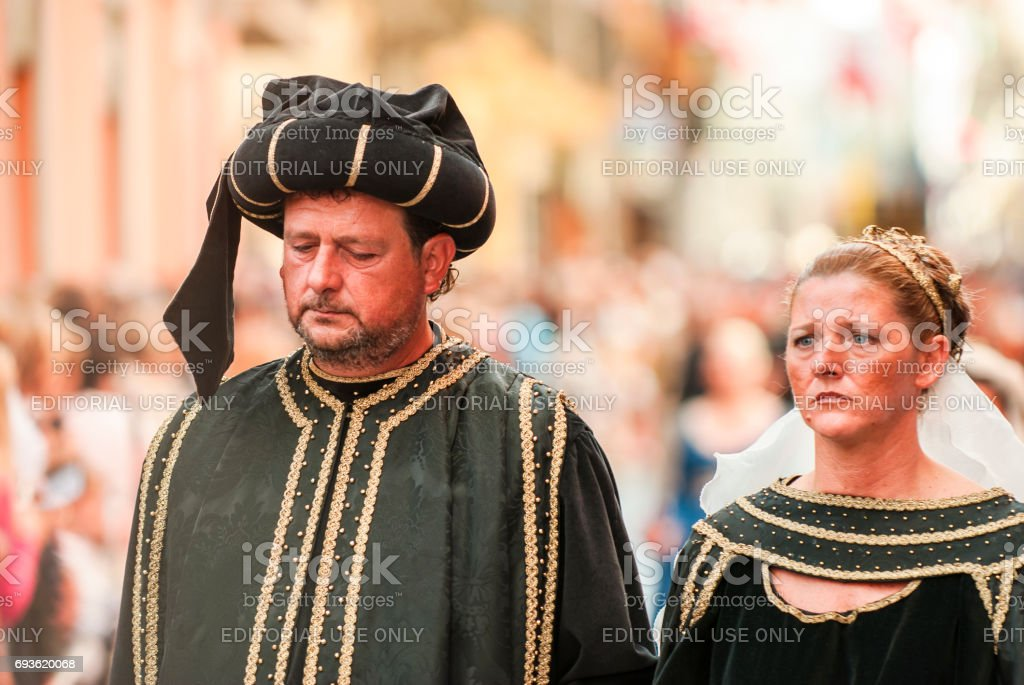 Husband and wife in the historic Medieval parade stock photo