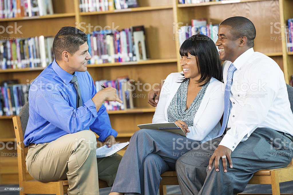 Husband and wife meeting with counselor royalty-free stock photo