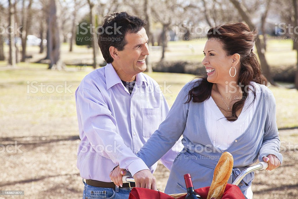 Husband and Wife Together at a Park royalty-free stock photo