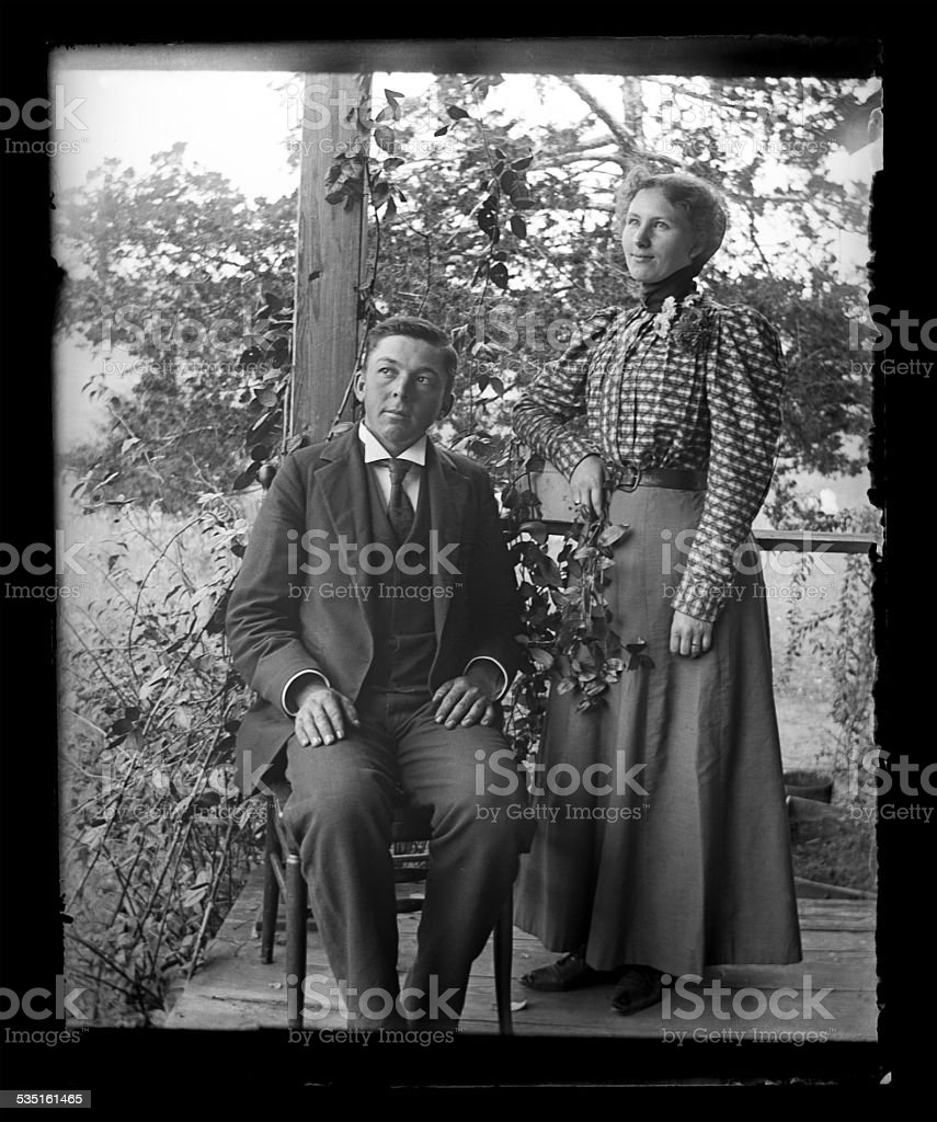 Husband and Wife Victorian-era Portrait stock photo