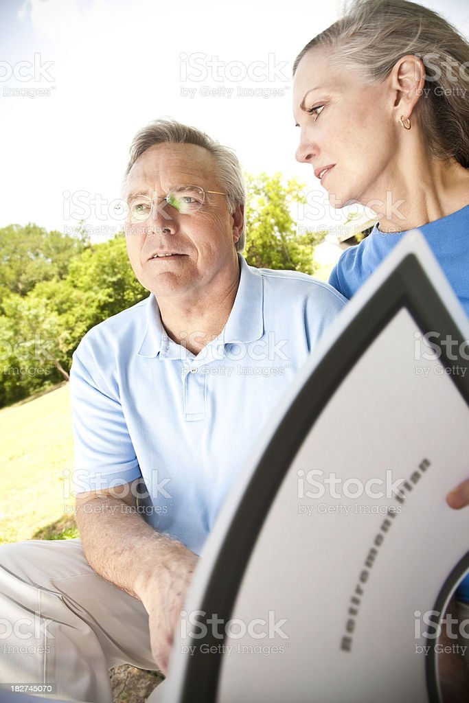 Husband and Wife Worried About Their Retirement Plan royalty-free stock photo