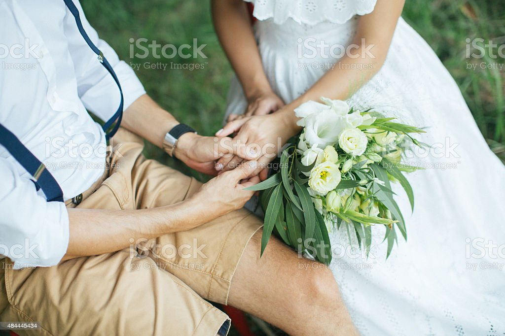 Husband hugging his wife stock photo