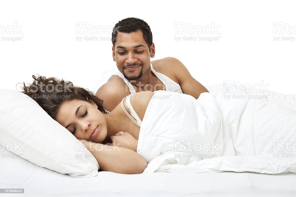 Husband Watching Wife Sleep royalty-free stock photo