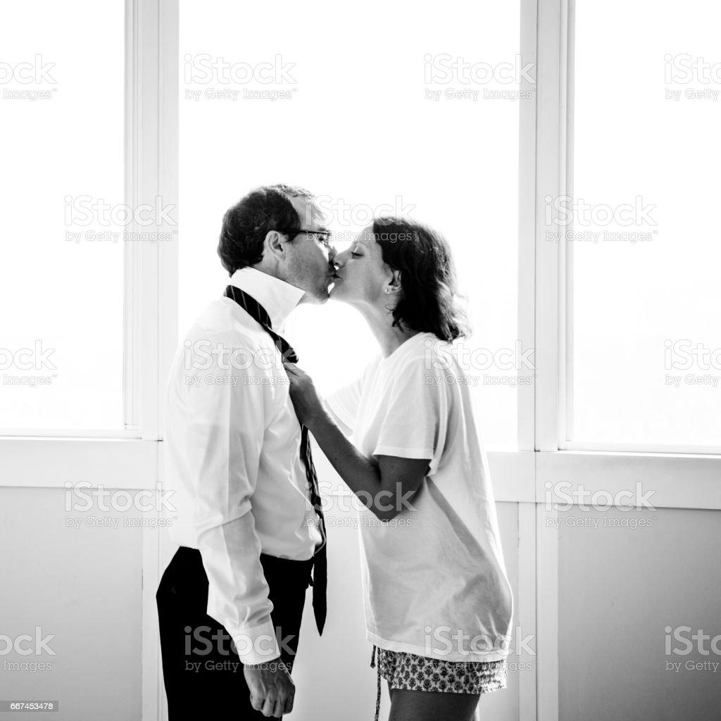 Husband Wife Kiss Romance Lifestyle stock photo