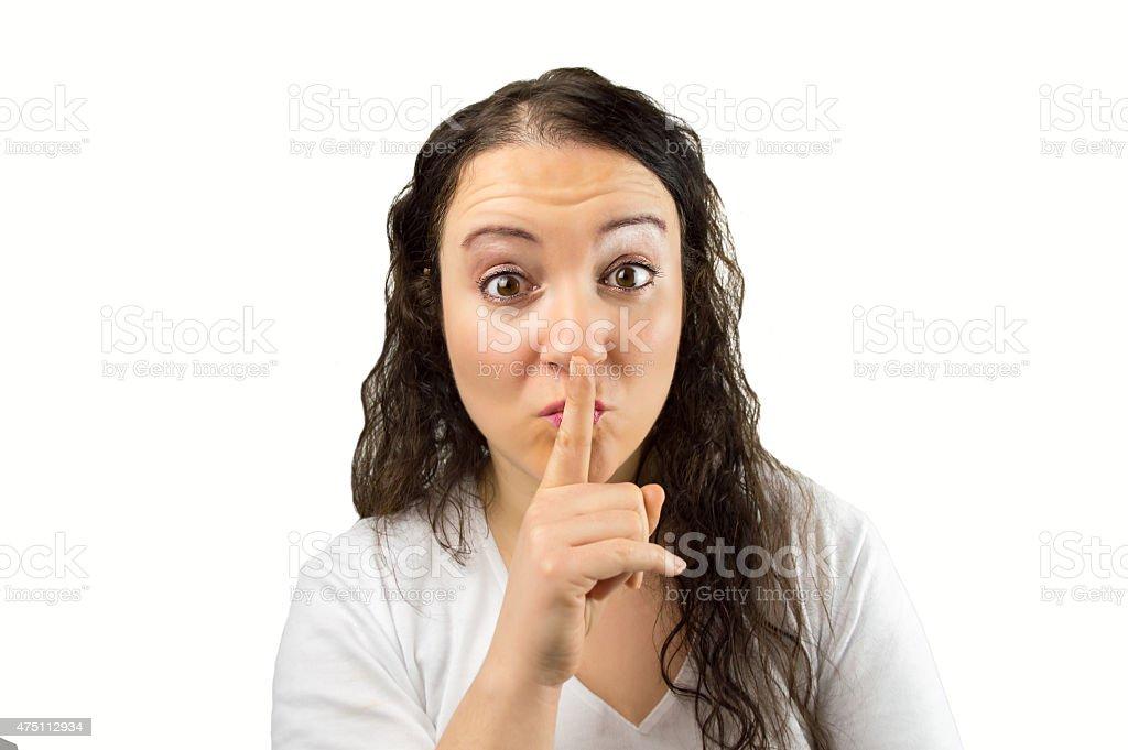 hush the secret stock photo
