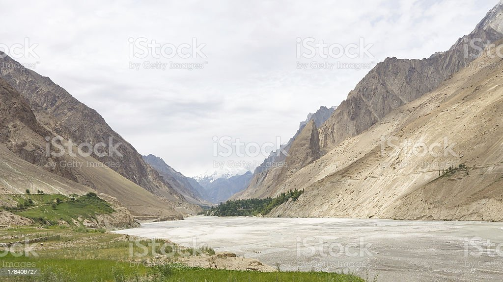 Hushe River Valley, Karakorum, Pakistan royalty-free stock photo