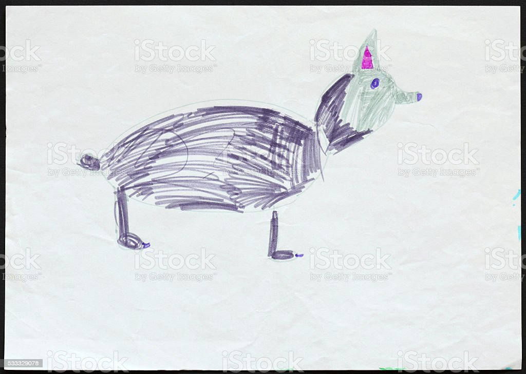 Husky Dog or Wolf. Child's Drawing. stock photo