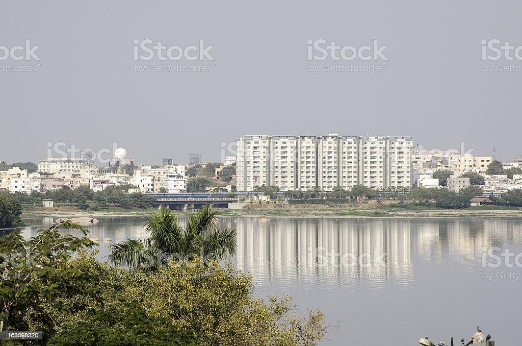 Hussein Sagar lake, Hyderabad stock photo