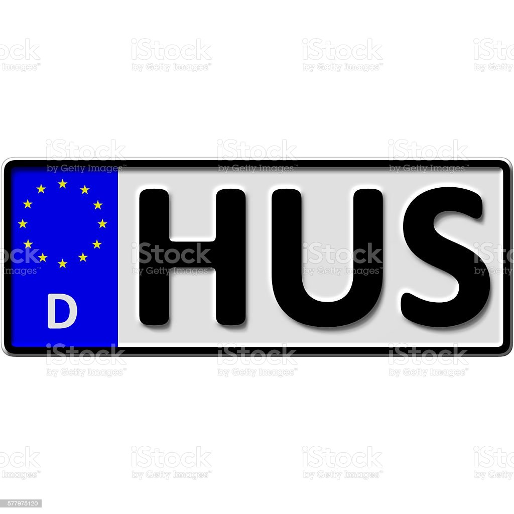 Husum license plate number stock photo
