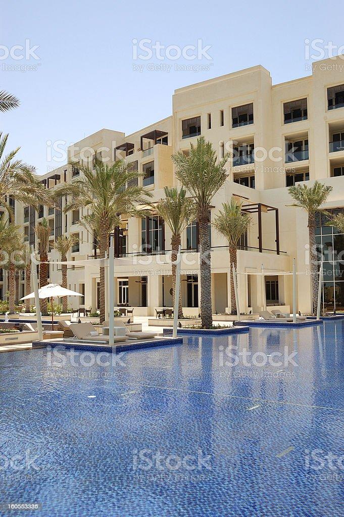 Hut at swimming pool of luxury hotel stock photo