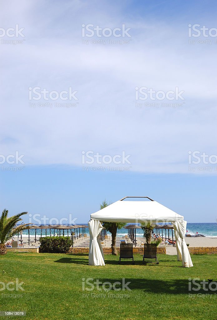 Hut at the beach of luxury hotel, Crete, Greece royalty-free stock photo