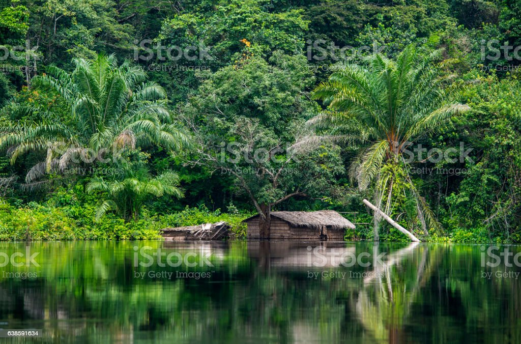 Hut at the shoreline of Congo River stock photo